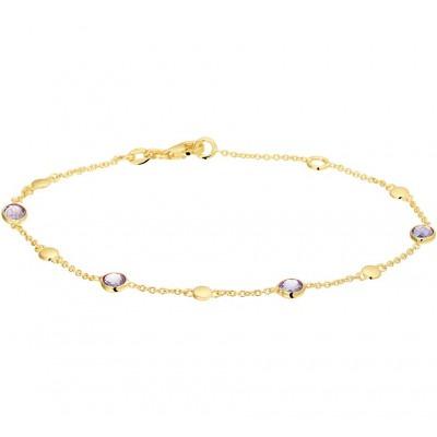 Gouden edelsteen armband met amethist 17-19 cm