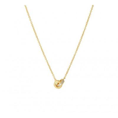 Gouden edelsteen ketting met diamant