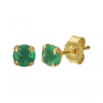 Gouden edelsteen oorbellen met smaragd