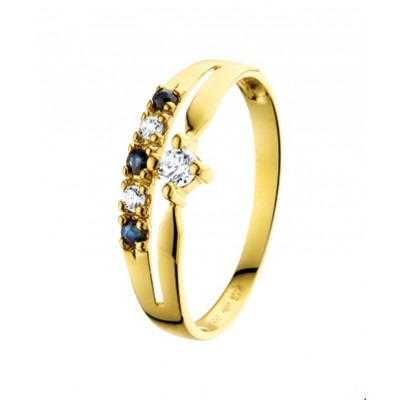 Gouden edelstenen ring saffier