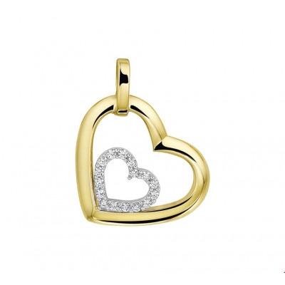 Gouden en witgouden hanger hart 16 mm bij 16 mm zirkonia