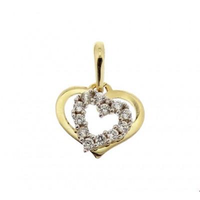 Gouden en witgouden hanger hart 9 mm zirkonia