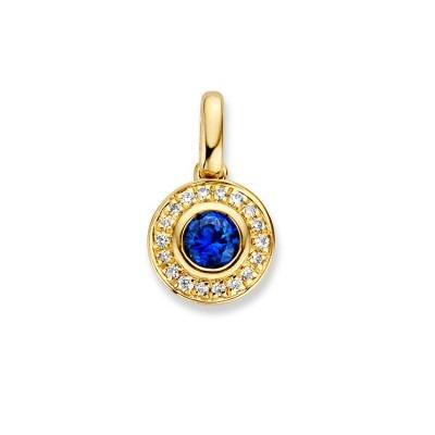 Gouden entouragehanger met prachtige saffier en diamanten