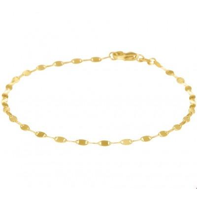 Gouden fantasie schakelarmband 2 mm dik 18 cm lang