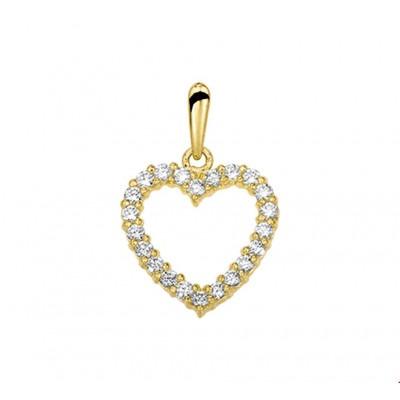 Gouden hanger hart 13 mm bij 13 mm zirkonia