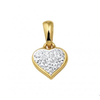 Gouden hanger hart 8 mm diamant