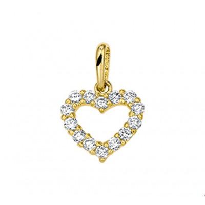Gouden hanger hart 9 mm zirkonia