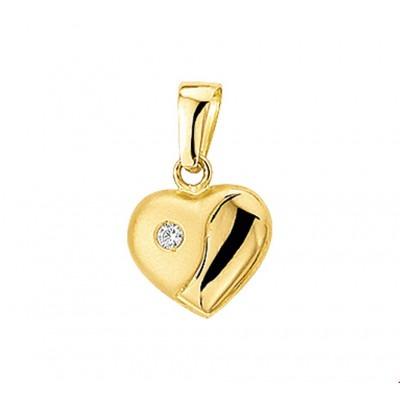 Gouden hanger hartje 10 mm zirkonia
