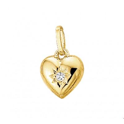 Gouden hanger hartje 8 mm zirkonia