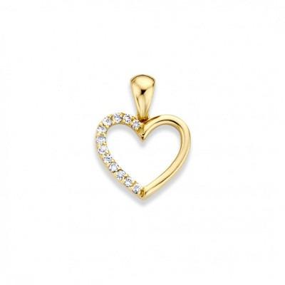 Gouden hanger in hartvorm half ingelegd met diamant