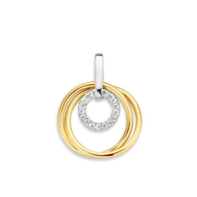 Gouden hanger met witgoud en zirkonia drie ringen