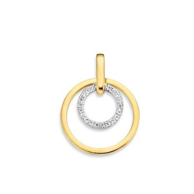 Gouden hanger met witgoud en zirkonia twee ringen