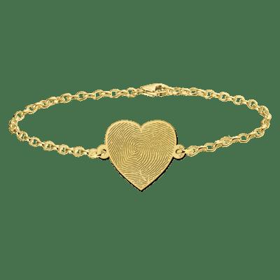 Gouden hartjes armband met vingerafdruk hart Names4ever
