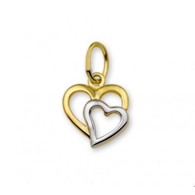 Gouden hartjes hanger 9 mm