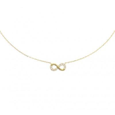 Gouden infinity ketting zirkonia