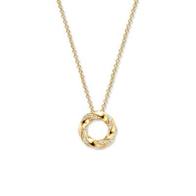 Gouden ketting met gedraaide ronde hanger diamant