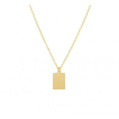 Gouden ketting met hanger rechthoek