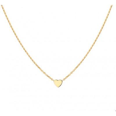 Gouden ketting met hartje ankerschakel 42-44 cm