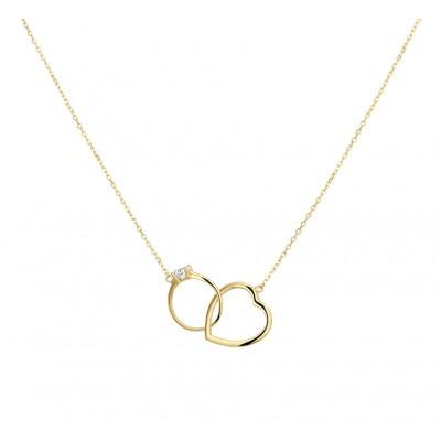 Gouden ketting met hartje en ring