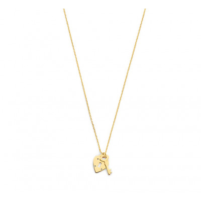 Gouden ketting met sleutel en hartje