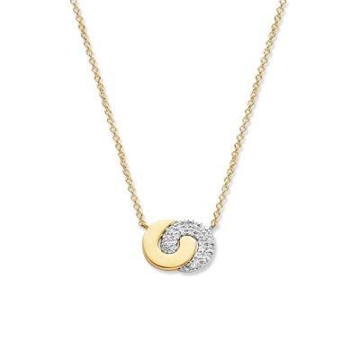 Gouden ketting met verbonden cirkels en diamant