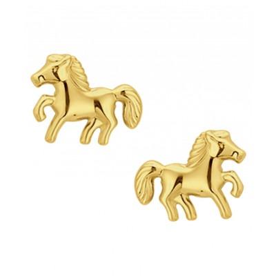 Gouden kinderoorbellen paard