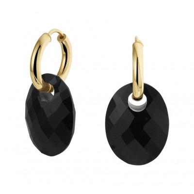 Gouden oorbellen met hanger onyx