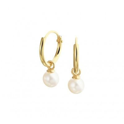 Gouden oorbellen met hanger parel