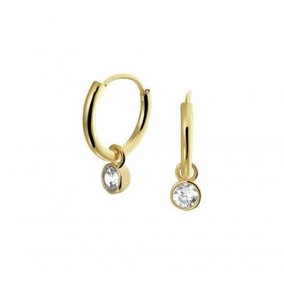 Gouden oorbellen met hanger zirkonia