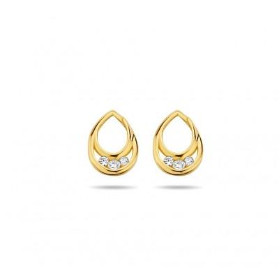 Gouden oorknopjes in druppelvorm met zirkonia