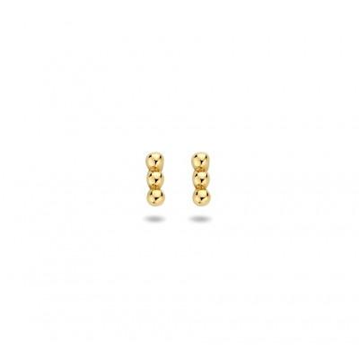 Gouden oorknopjes met drie bolletjes