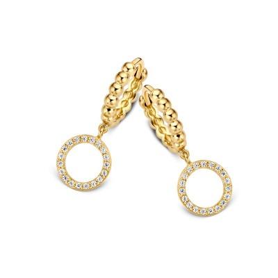 Gouden oorringen met bolletjesvorm en zirkonia hangers