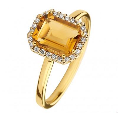 Gouden ring met edelsteen citrien en diamant steen