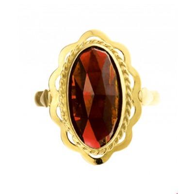 Gouden ring met edelsteen granaatsteen