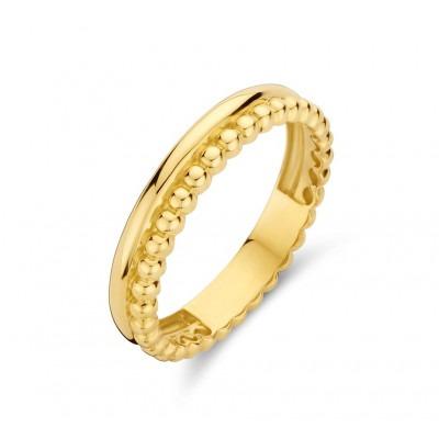 Gouden ring met gladde kant en bolletjes