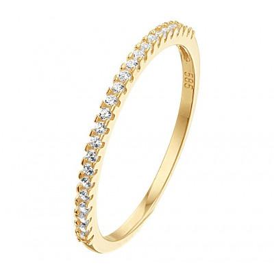 Gouden ring met zirkonias rondom