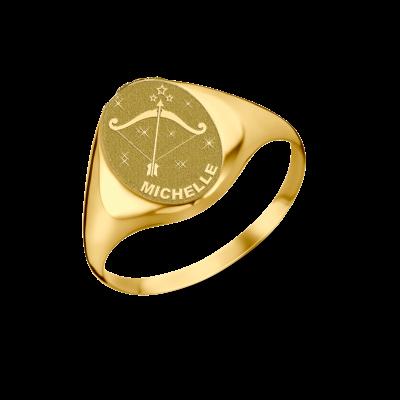 Gouden zegelring ovaal met horoscoop en naam