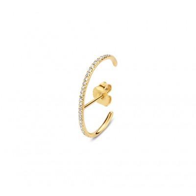 Halfronde gouden oorsteker met diamant