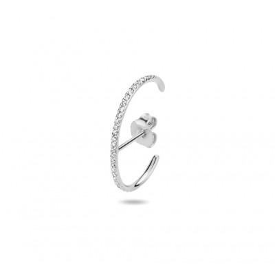 Halfronde witgouden oorsteker met diamant