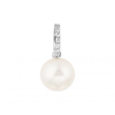 Hanger witgoud met parel en diamant