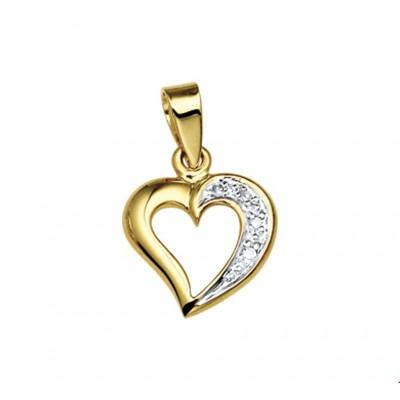 Hart hanger goud 10 mm x 12 mm diamant