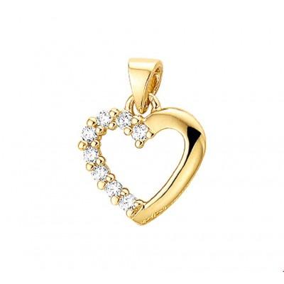 Hart hanger goud 15 mm x 14 mm zirkonia