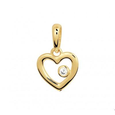 Hart hanger goud 8 mm x 13 mm zirkonia