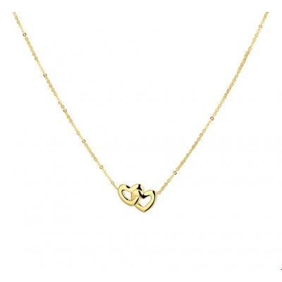 Ketting goud hartje dubbel 1 mm 41-43 cm