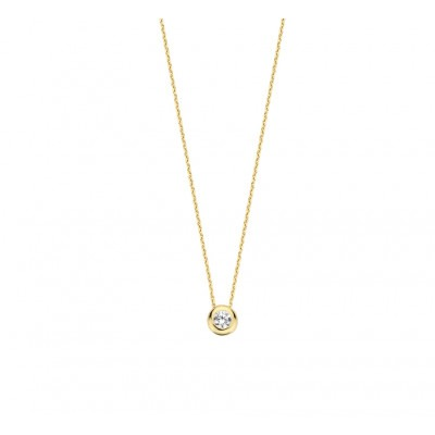 Ketting goud met ronde zirkonia