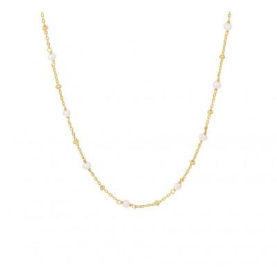 Ketting met edelsteen parel in het plated goud