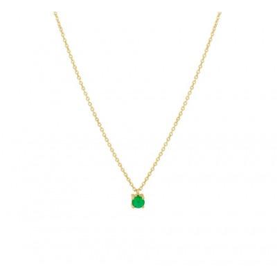 Ketting met edelsteen smaragd in het goud