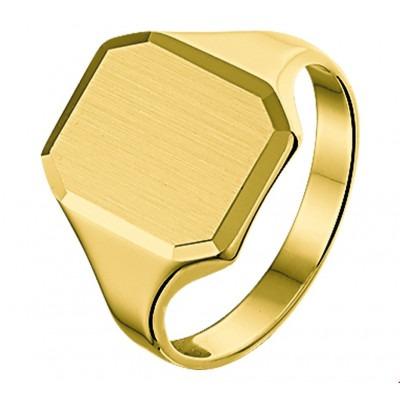 Mooie 14 karaat gouden zegelring heren massief