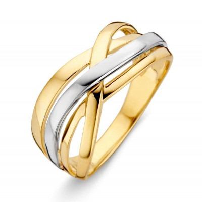 Mooie bicolor ring 585 goud