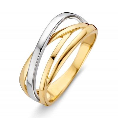 Mooie bicolor ring van 585 goud